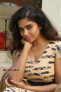 Telugu Actress Karunya Chowdary Stills in Short Dress at ATM Not Working Press Meet  0135.jpg