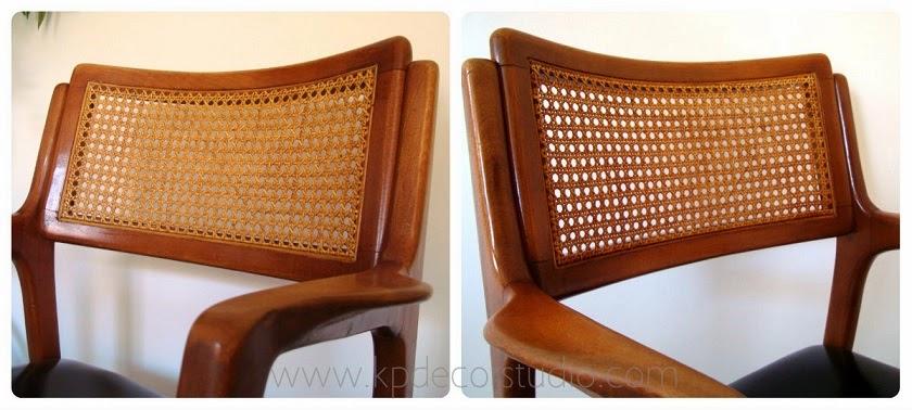 Sillas estilo danés con respaldo de ratán y madera de haya