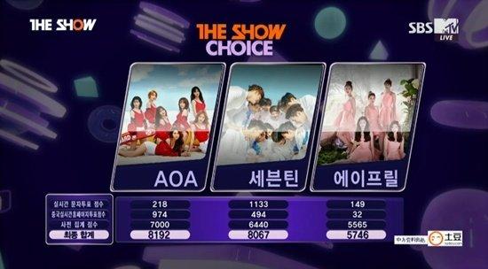 AOA Raih Trofi Pertama Dengan 'Good Luck' di 'The Show'