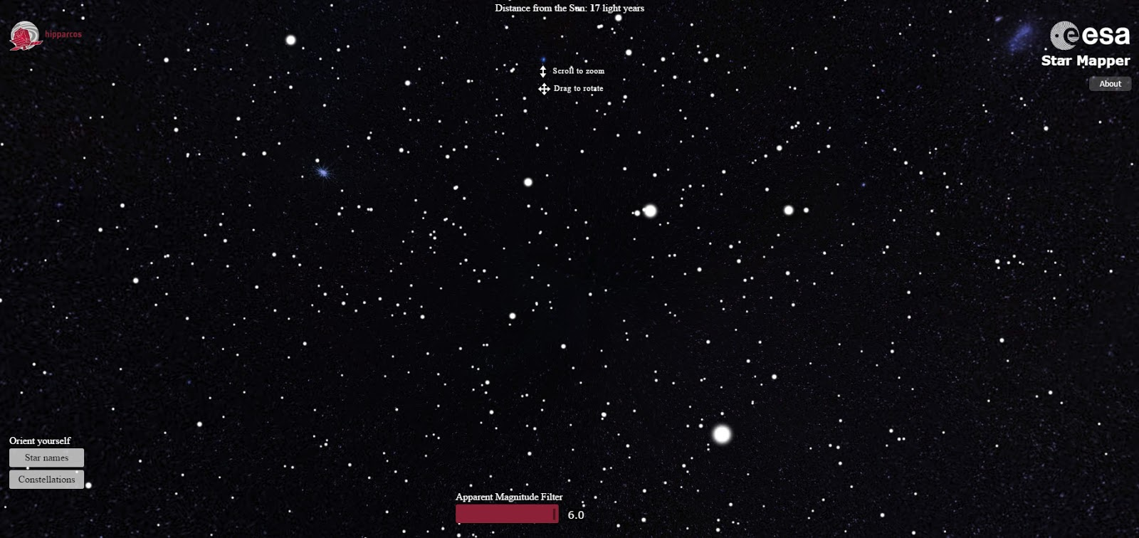 Star Mapper:  A visualisation based on data from the European Space Agency's Hipparcos star mapper