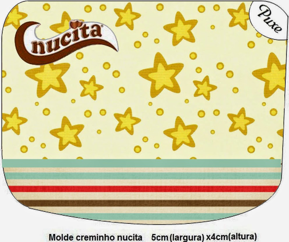 Etiqueta Nucita para Imprimir Gratis de Estrellas Doradas y Rayas de Colores.