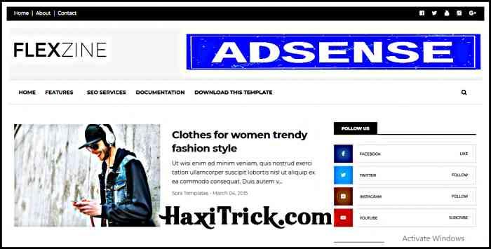 flexzine best free adsense friendly blogger template