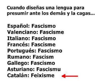 Feixisme , català , Cuando diseñas una lengua para presumir ante los demás y la cagas