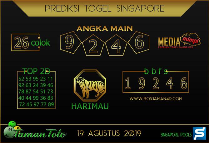 Prediksi Togel SINGAPORE TAMAN TOTO 19 AGUSTUS 2019