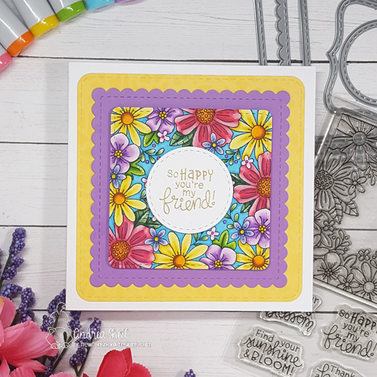 Square Flower Card by Andrea Shell | Floral Fringe Stamp Set and Frames Squared Die Set by Newton's Nook Designs #newtonsnook #handmade