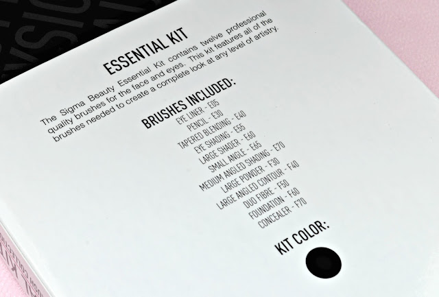 Image of the back of the Sigma Essential 12 Piece Brush Kit with the names of the brushes included