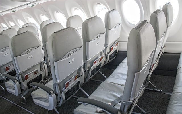 Bombardier CS300 Air Baltic Cabin Interior rear view