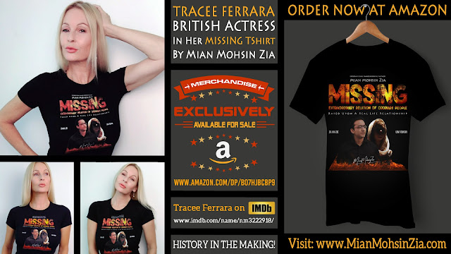 Tracee Ferrara, British Actress in her Branded MISSING TShirt by Mian Mohsin Zia