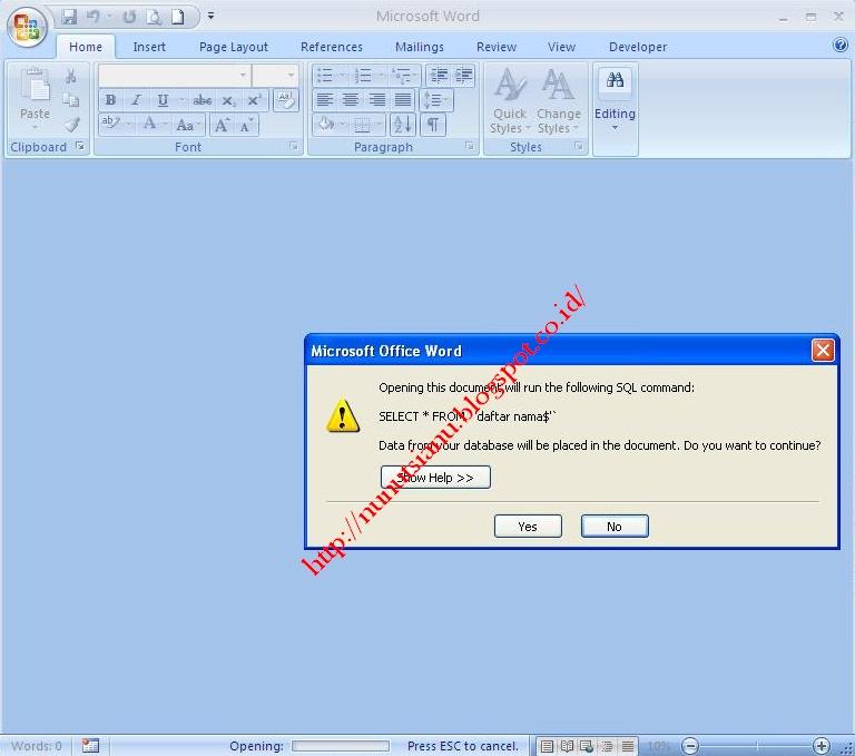 Sinau Dewe: Membuat Mail Merge MS Word dan Ms.Excel
