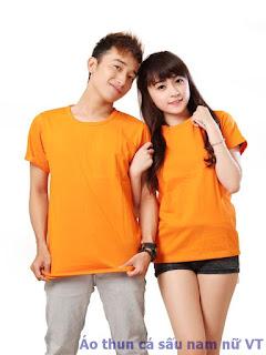 Áo thun cổ tròn nam nữ màu cam