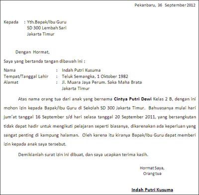 Contoh Surat Izin Tidak Masuk Sekolah Karena Sakit 2019 Kumpulan