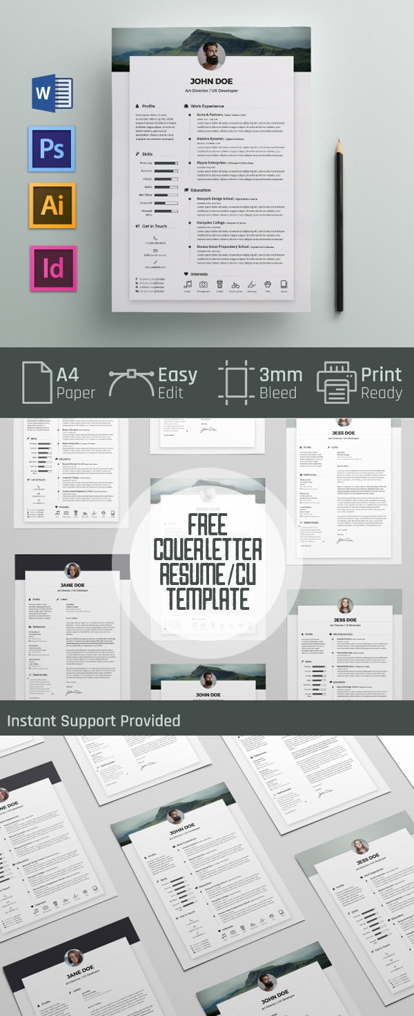 Template Resume / CV Terbaru 2017 - Free Cover letter and Resume / CV Template