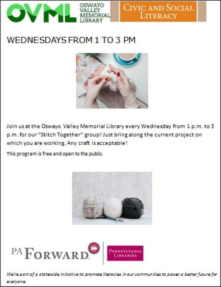 "Wednesdays OVML ""Stitch Together"" Group"