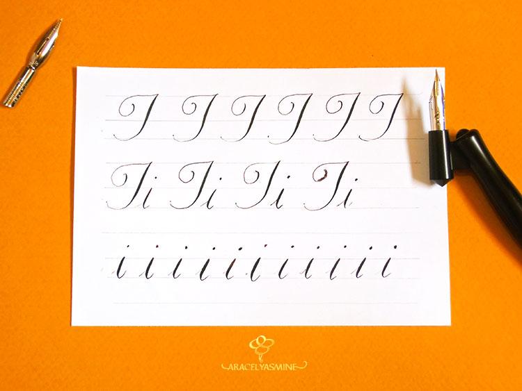 Caligrafía copperplate, ¿cómo escribir la letra I?