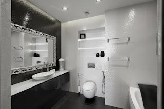Baño moderno blanco negro