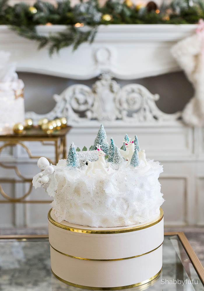 faux cake displayed on a cake stand