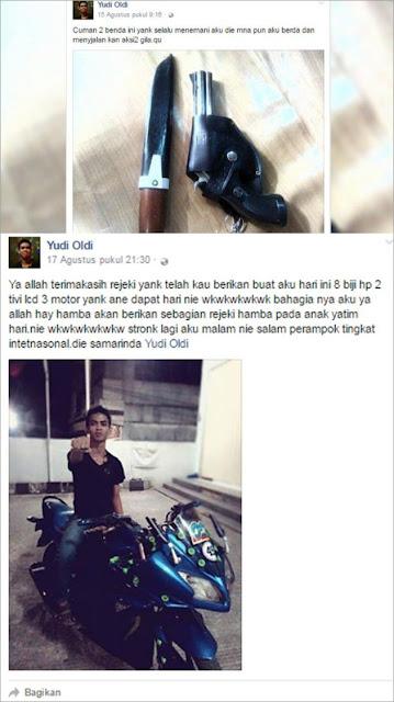 """Yudi Oldi """" Rampok Samarinda"""" Yang Eksis Pamer Di Facebook"""