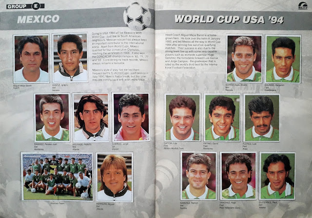 WORLD CUP USA '94 STICKER ALBUM COLLECTION GROUP E MEXICO
