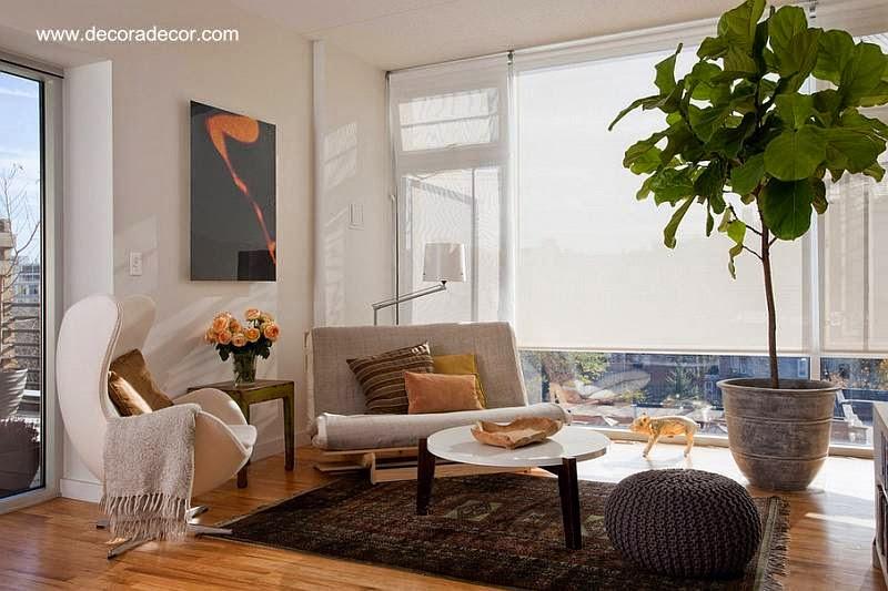 Sala de estar con diseño y decoración con orientación Feng Shui