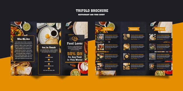 Modern brochure for breakfast restaurant Free Psd