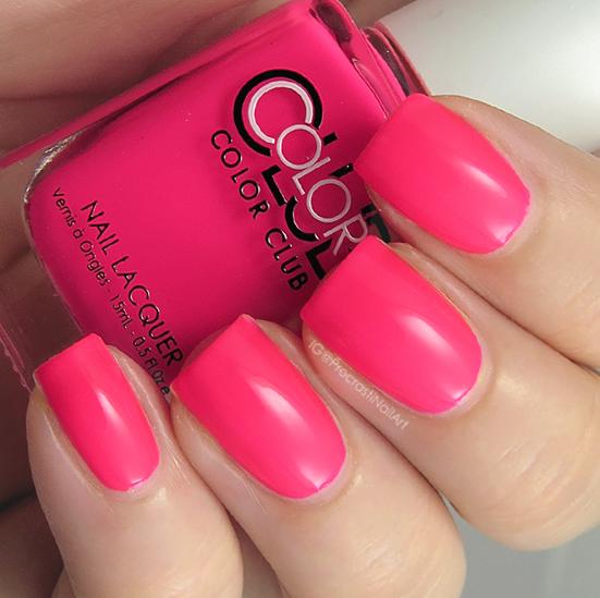Neon pink creme nail polish
