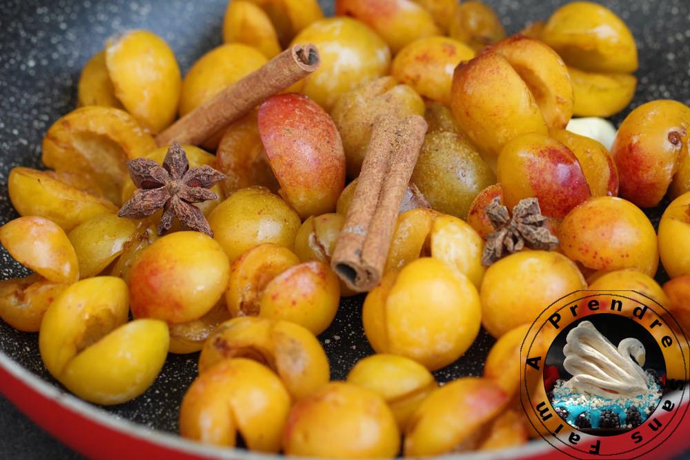 Compotée de mirabelles flambées aux épices