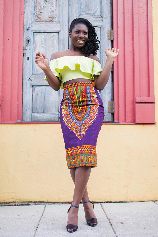 Dressing des 4 Saisons Zuvaa African style Dashiki Jupe crayon pencil skirt purple violet Concours