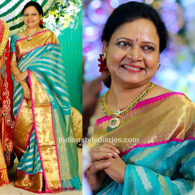 Vasundhara-in-Kanjeevaram-saree-at-her-sons-wedding