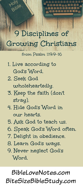 9 Disciplines of Growing Christians from Psalm 119 - Seeking To Live More Fully For Jesus.