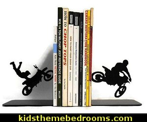 Motocross Motorcycle Racing Metal Art Bookends  Motocross bedroom ideas - Dirt bike room decor - Dirt bike wall art - Motocross bedding