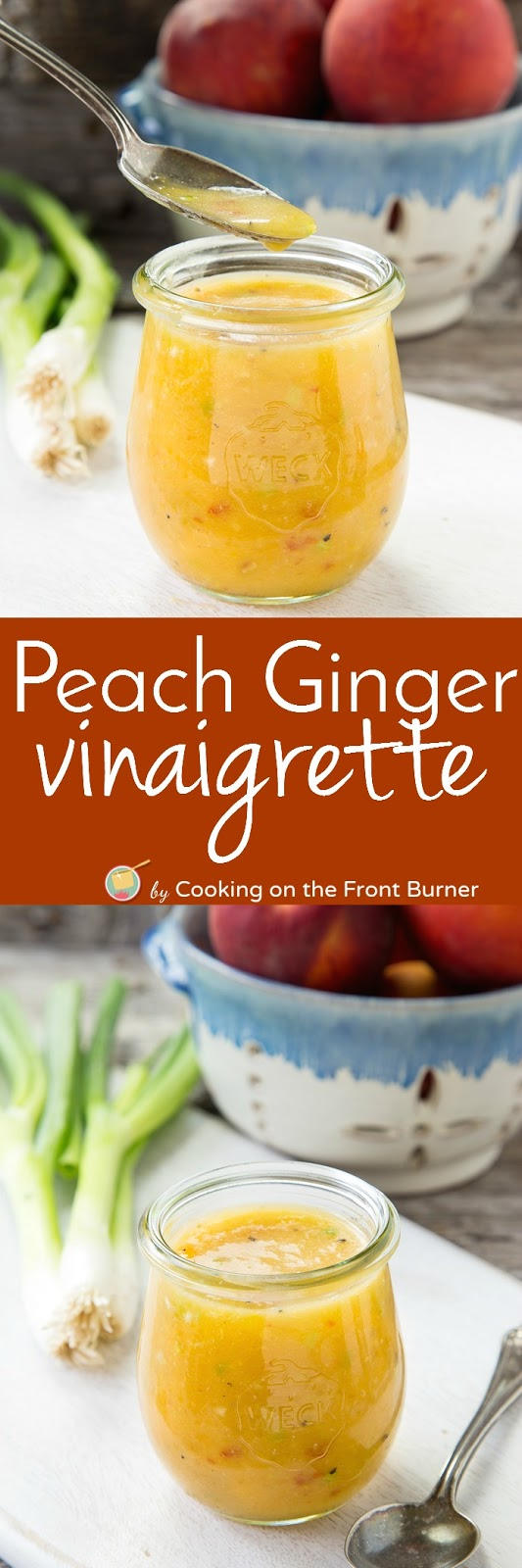 It is so easy to make your own Peach Ginger Vinaigrette.  Perfect on salads or a marinade!