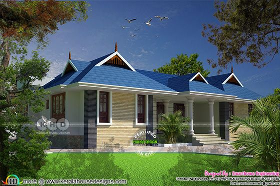 4 bedroom 1820 sq-ft sloping roof house plan