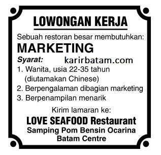 Lowongan Kerja Love Seafood Restaurant Ocarina
