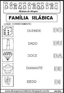 Famílias silábicas alfabetização letra D
