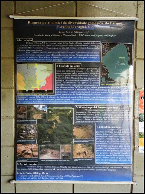 Banner sobre a diversidade geológica do PEJ desenvolvido por Lucélia e Velázquez, em exibição na sala de informações localizada no topo do Pico do Jaraguá. (clique para ampliar)