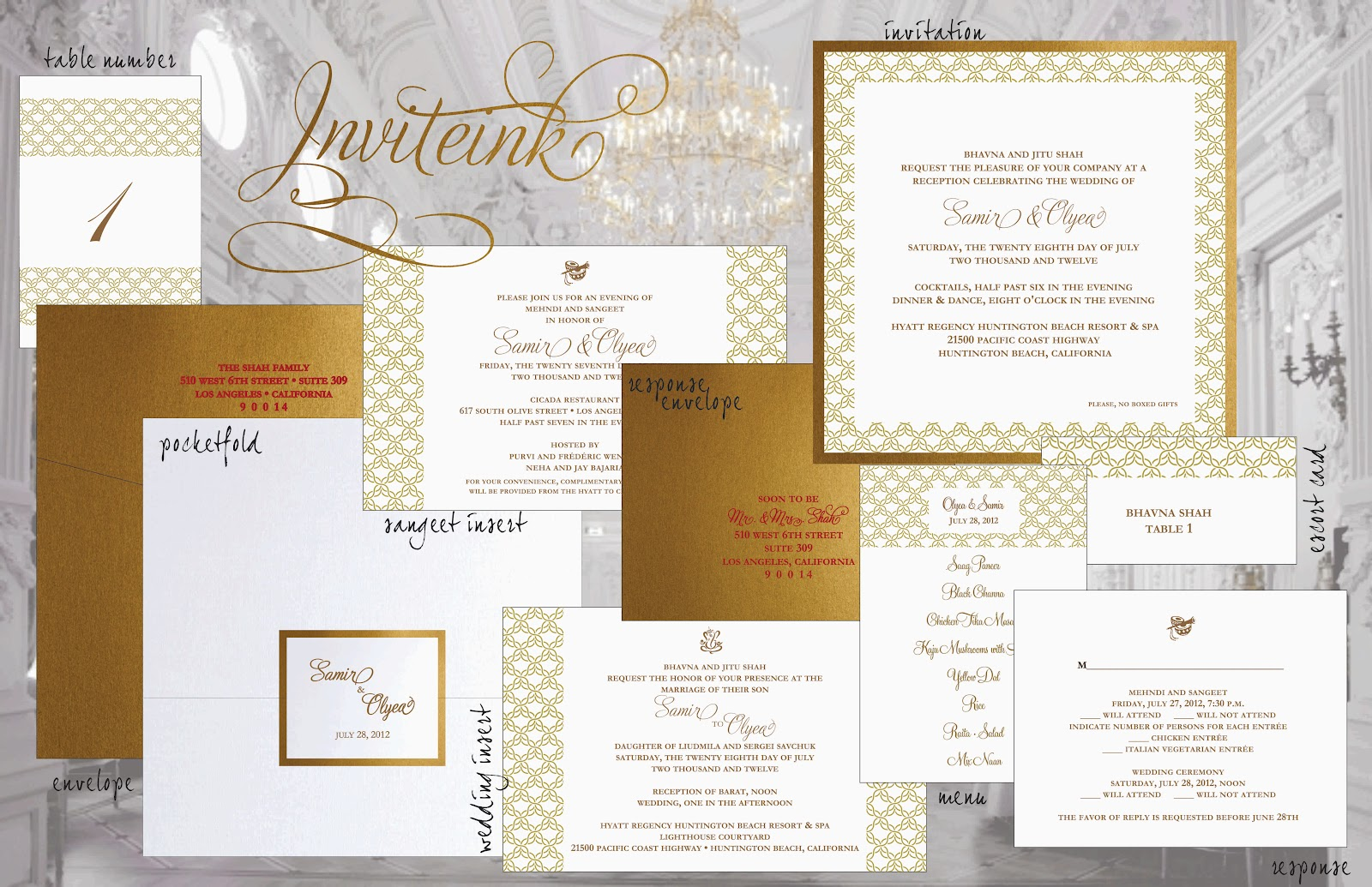 Embossed Card For Wedding Invitations: Inviteink: Embossed Indian Wedding Invitation