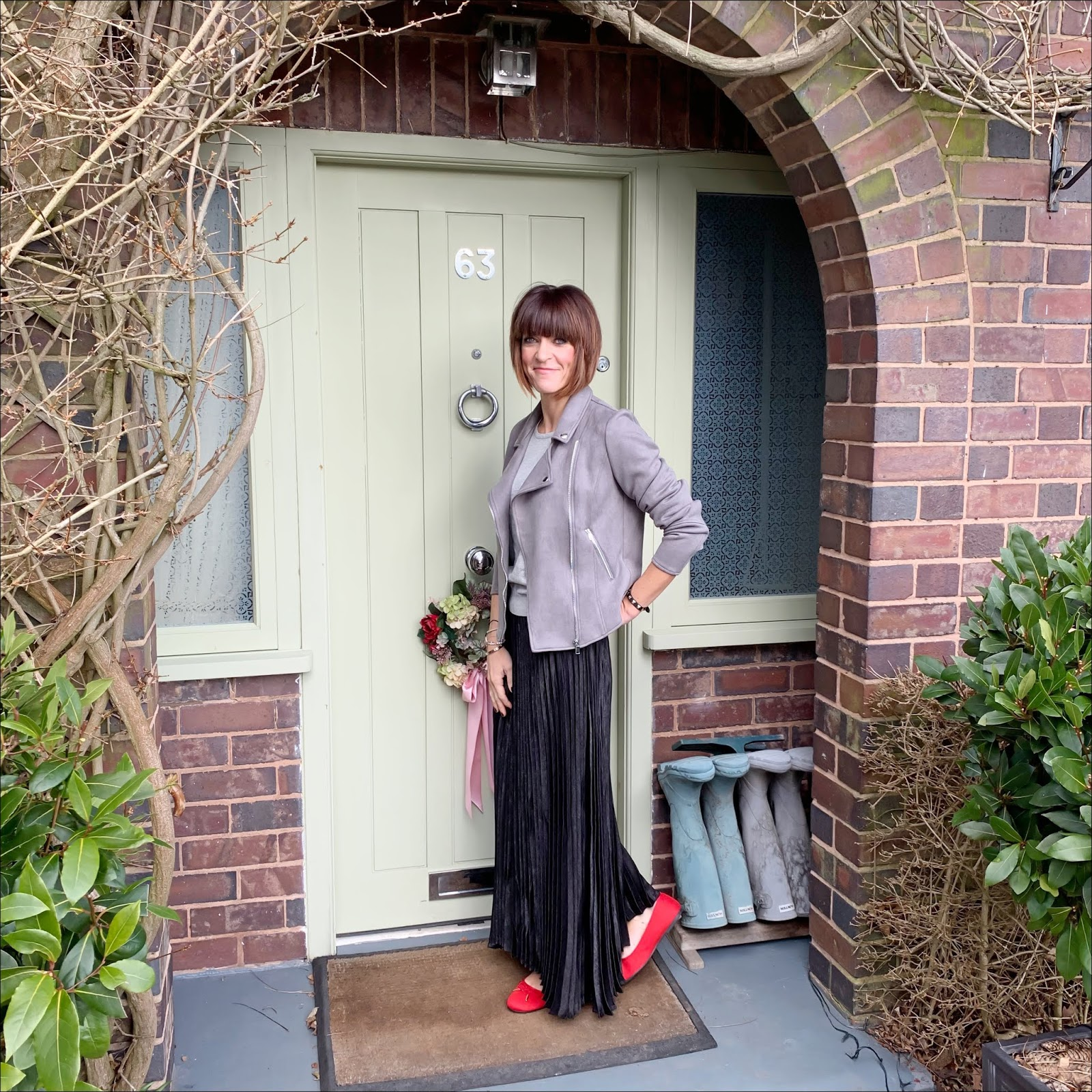 my midlife fashion, jd williams, jd williams grey suedette biker jacket, jd williams crew neck jumper, jd williams sunday pleat maxi skirt, jd williams bow ballerina shoes