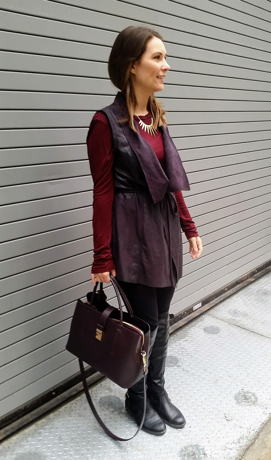 Black Suede Vest, Over The Knee Boots, Oxblood Sweater, Oxblood Purse
