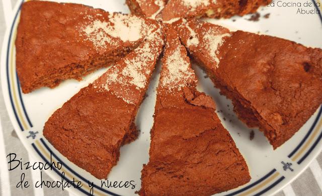 bizcocho chocolate nueces repostería receta corte