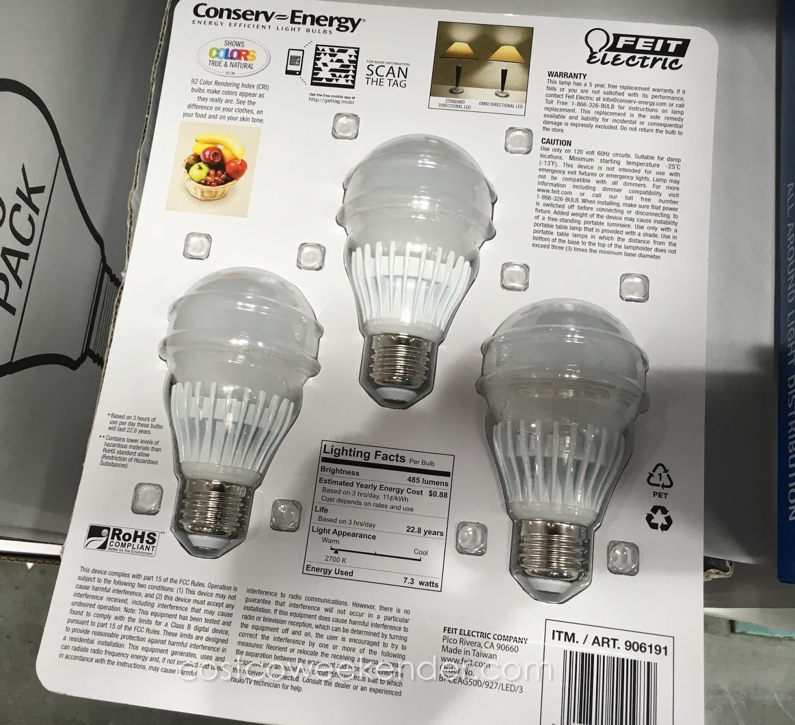 Feit Electric 40 Watt LED Dimmable Replacement Bulbs (3
