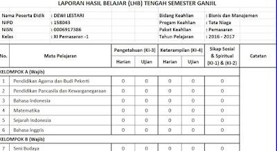 Aplikasi Rapor / LHB UTS Excel Kurikulum 2013 SMK