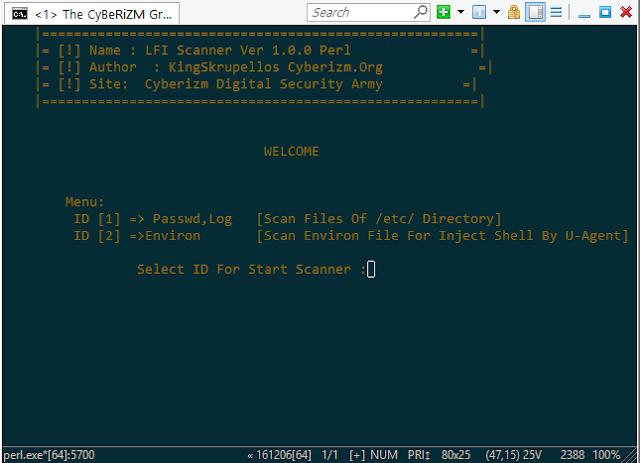 Local File Inclusion LFI Scanner Perl V.1.0 CyBeRiZM