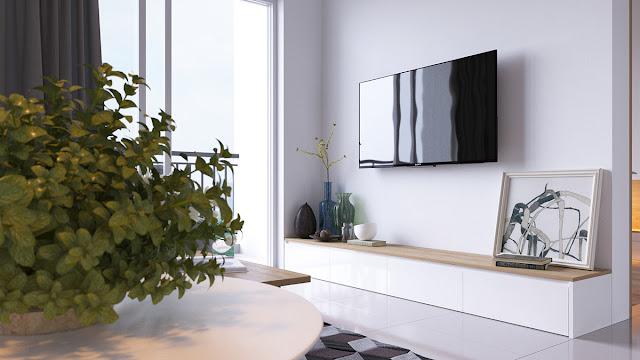 Blog Achados de Decoração -  Apartamento decorado 2 dormitórios - decor azul e cinza