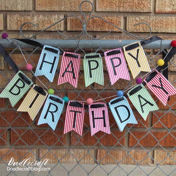 Kraft birthday banner Happy birthday banner. Simple happy birthday banner Rustic birthday banner