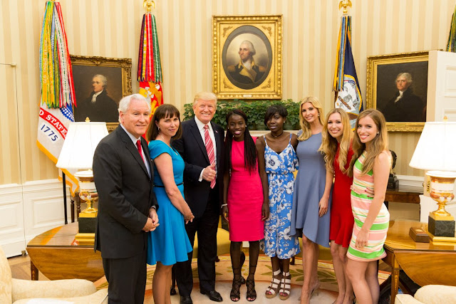 Donald Trump and his daughter, Ivanka, host 2 Chibok girls at the White House