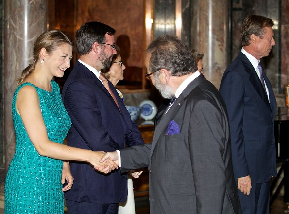 Grand Duke Henri, Duchess Maria Teresa, Prince Guillaume and Duchess Stéphanie hosted a garden party. Princess Stéphanie wore Elie Saab dress