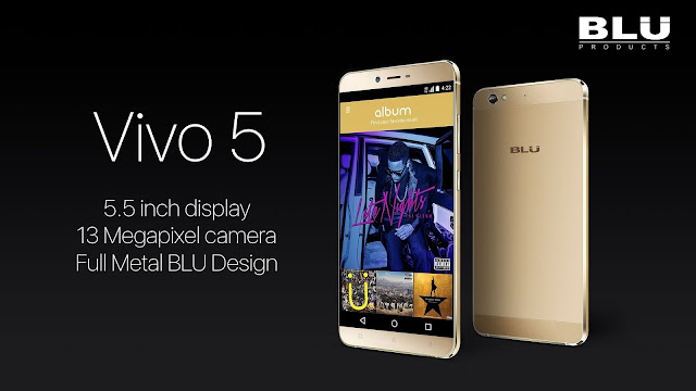 BLU Vivo 5 Specifications - LAUNCH Announced 2016, January DISPLAY Type AMOLED capacitive touchscreen, 16M colors Size 5.5 inches (~73.6% screen-to-body ratio) Resolution 720 x 1280 pixels (~267 ppi pixel density) Multitouch Yes Protection Corning Gorilla Glass 3 BODY Dimensions 151.9 x 74.6 x 6.9 mm (5.98 x 2.94 x 0.27 in) Weight 142.6 (5.04 oz) SIM Dual SIM (Micro-SIM/Nano-SIM, dual stand-by) PLATFORM OS OS Android OS, v5.1 (Lollipop), planned upgrade to v6.0 (Marshmallow) CPU Octa-core 1.3 GHz Cortex-A53 Chipset Mediatek MT6753 GPU Mali-T720MP3 MEMORY Card slot microSD, up to 64 GB Internal 32 GB, 3 GB RAM CAMERA Primary 13 MP, phase detection autofocus, LED flash Secondary 5 MP Features Geo-tagging, touch focus, face detection, panorama, HDR Video 1080p@30fps NETWORK Technology GSM / HSPA / LTE 2G bands GSM 850 / 900 / 1800 / 1900 - SIM 1 & SIM 2 3G bands HSDPA 850 / 1700(AWS) / 1900 / 2100 4G bands LTE band 2(1900), 4(1700/2100), 7(2600) Speed HSPA 42.2/11.5 Mbps, LTE Cat4 150/50 Mbps GPRS Yes EDGE Yes COMMS WLAN Yes NFC Yes GPS Yes, with A-GPS USB v2.0, Type-C 1.0 reversible connector Radio FM radio Bluetooth v4.0 FEATURES Sensors Sensors Accelerometer, gyro, proximity, compass Messaging SMS(threaded view), MMS, Email, Push Email, IM Browser HTML5 Java No SOUND Alert types Vibration; MP3, WAV ringtones Loudspeaker Yes 3.5mm jack Yes  - DTS sound BATTERY  Non-removable Li-Ion 3150 mAh battery Stand-by Up to 725 h (2G) / Up to 625 h (3G) Talk time Up to 26 h (2G) / Up to 16 h (3G) Music play  MISC Colors Silver, Gold   - MP4/H.264 player - MP3/eAAC+/WAV/Flac player - Document viewer - Photo/video editor