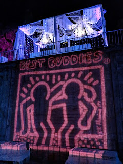 Best Buddies logo projected next to stairs leading to the Best Buddies VIP party at Hearst Castle, San Simeon, California