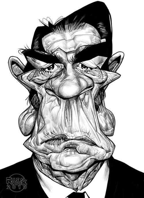 """Caricatura de """"Tommy Lee Jones"""" por Russ Cook"""