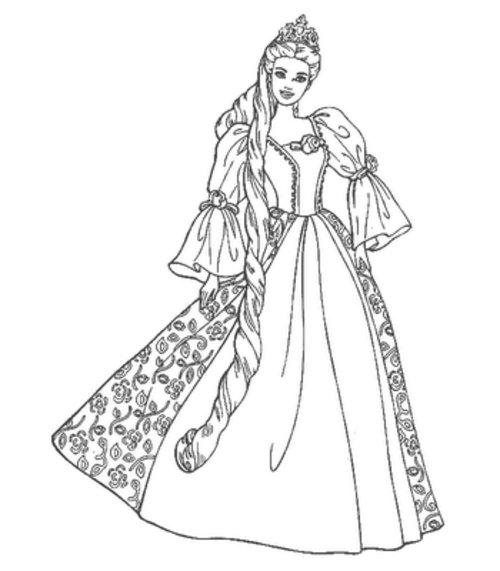 8 printable barbie princess coloring pages disney for Princess barbie coloring pages